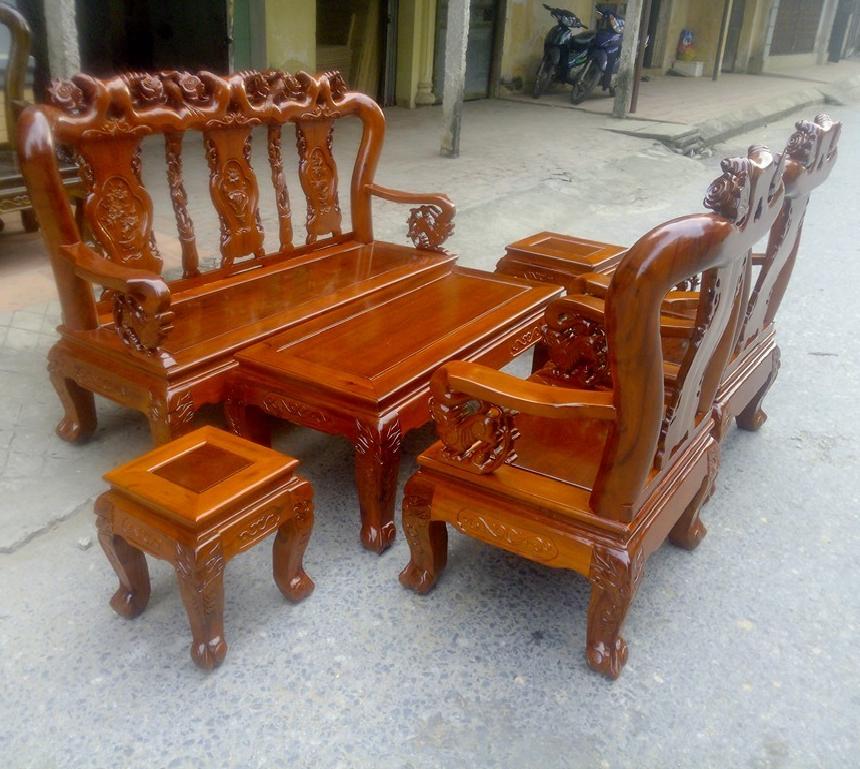 Bộ Salon Gỗ Tràm Tay 10 Sơn PU Giả Hương