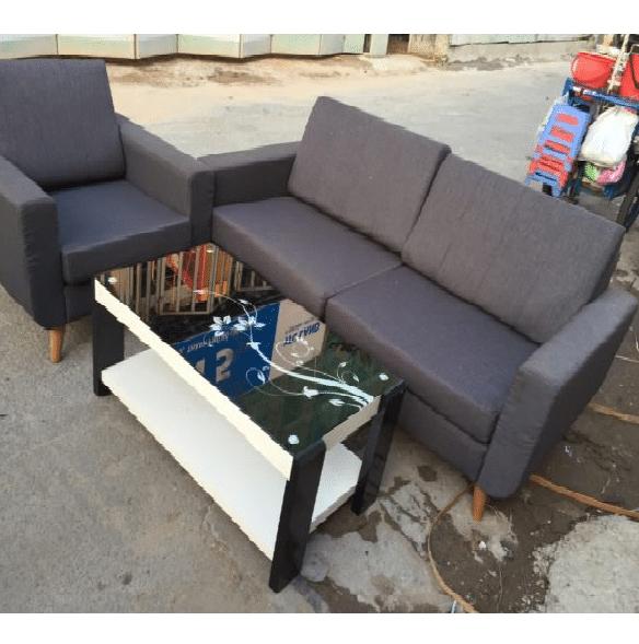 Bộ Sofa Cũ Bọc Vải Màu Xám Đen